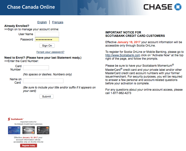 Scotiabank bought Chase Canada's credit card portfolio