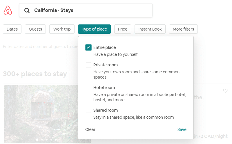 Airbnb filtered by type of stay